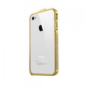 Бампер со стразами NewSH Swarovski design золотой для iPhone 4/4S