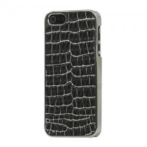 Чехол-накладка для Apple iPhone 5/5s - Leather Hard Case kind croco серебристый