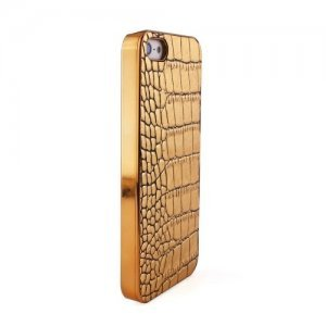Чехол-накладка для Apple iPhone 5/5s - Leather Hard Case kind croco золотистый