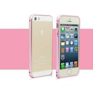 Бампер со стразами Mahaza Diamond розовый для iPhone 5/5S/SE