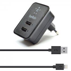 Сетевое зарядное устройство Belkin Dual USB Home Charger 220V + LIGHTNING кабель черный
