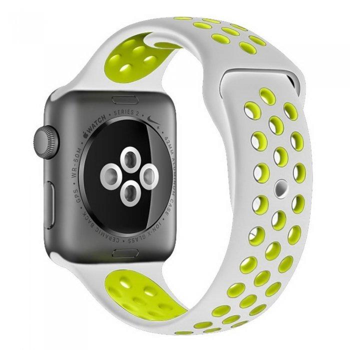 Ремешок Coteetci W12 Nike серый + желтый для Apple Watch 42/44 мм