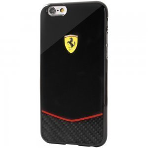 Чехол-накладка для Apple iPhone 6/6S - Ferrari Scuderia Glossy Carbon Fiber Bottom черный