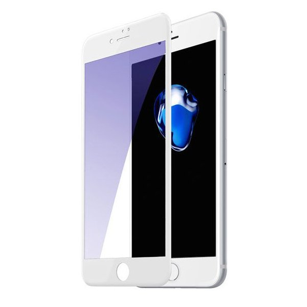 Защитное стекло Baseus 0.3mm All-screen Arc-surface Anti-bluelight белое для iPhone 7/8 Plus