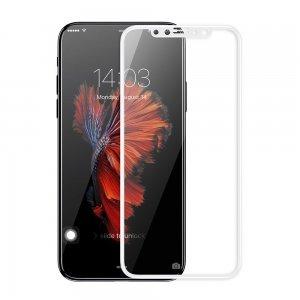 Защитное стекло Baseus 0.2mm Silk-screen глянцевое, белое для iPhone X