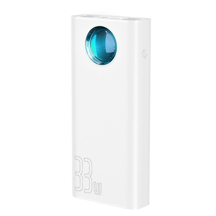 Портативный аккумулятор Baseus Amblight Quick Charge & Large Power Digital Display Power Bank 33W (PD3.0+QC3.0) 30000mAh белый