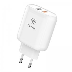 Сетевое зарядное устройство Baseus Bojure 2-USB, QC, 18W белый