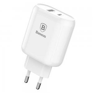 Сетевое зарядное устройство Baseus Bojure Type-C, PD+U, QC, 32W белое