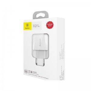 Сетевое зарядное устройство Baseus Mini Dual-U Charger EU 2.1A белое