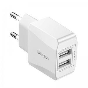 Мережевий зарядний пристрій Baseus Mini Dual-U Charger EU 2.1A біле