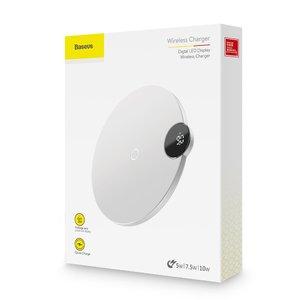 Беспроводное зарядное устройство Baseus Digital LED Display Wireless Charger белое