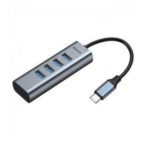 Переходник Baseus Enjoy series Type-C to USB 3.0 * 4 + PD HUB серый