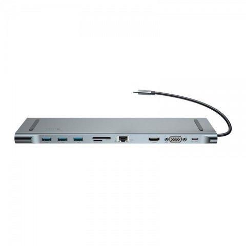 Переходник Baseus Enjoyment с Type-C на 3 x USB 3.0 + SD + RJ45 + TF/Micro SD + VGA + Type-C серый