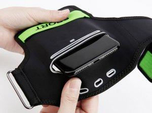 """Спортивный чехол на руку Baseus Flexible зеленый + черный для смартфонов диагональю 5"""" и менее"""