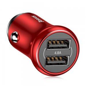 Автомобильное зарядное устройство Baseus Gentleman 4.8A 2-USB красное