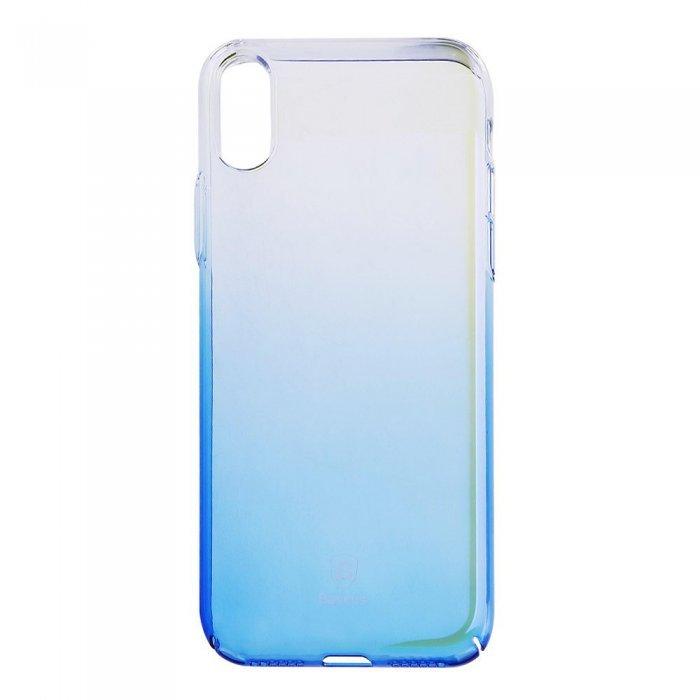 Полупрозрачный чехол Baseus Glaze синий для iPhone X/XS