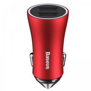 Автомобильное зарядное утройство Baseus Golden Contactor Dual U Intelligent красный