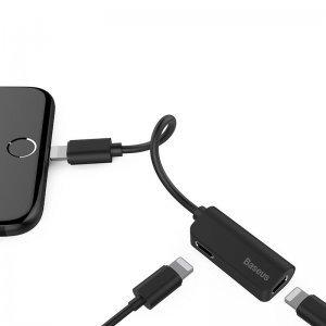 Переходник Baseus iP Male to iP+iP Female Adapter L37 черный