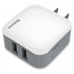 Сетевое зарядное устройство Baseus Letour 2 USB, 2.4 Amp, CN, белое