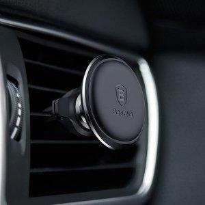 Автомобильный держатель Baseus Magnetic Air Vent Car Mount Holder with Cable Clip черный