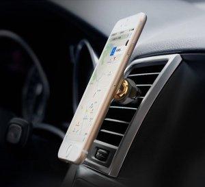 Автомобильный держатель Baseus Magnetic Air Vent Car Mount Holder with Cable Clip золотой