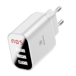 Сетевое зарядное устройство Baseus Mirror Lake Intelligent Digital Display 3USB Travel Charger 3.4A белый