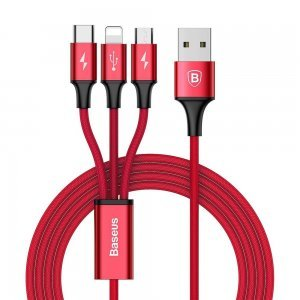 Кабель Baseus Rapid Series 3-in-1 Cable Micro-USB + Lightning +Type-C, 3A, 1.2M красный
