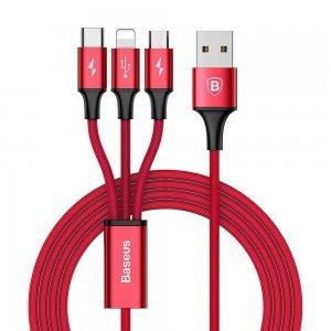 Кабель Baseus Rapid Series 3-in-1 Cable Micro-USB + Lightning +Type-C, 3A, 1.2M красный