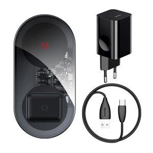 Беспроводное зарядное устройство Baseus Simple 2in1 Wireless Charger Turbo Edition 24W (с 12V сетевым адаптером) черное