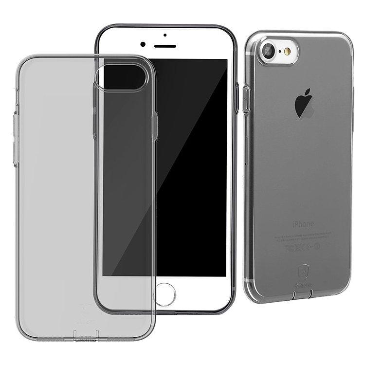 Полупрозрачный чехол Baseus Simple (With-Pluggy) чёрный для iPhone 8/7