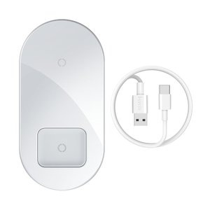 Беспроводное ЗУ Baseus Simple 2-in-1 Wireless Charger Pro Edition белое