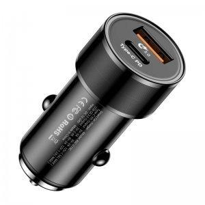 Автомобильное зарядное устройство Baseus Small Screw Type-C PD+USB Quick Charge 36W черное