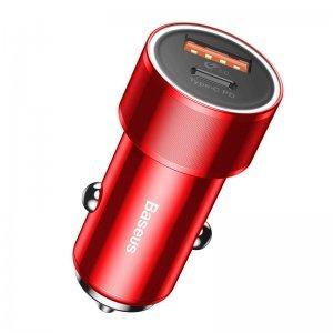 Автомобильное беспроводное зарядное устройство Baseus Small Screw Type-C PD+USB Quick Charge 36W красное