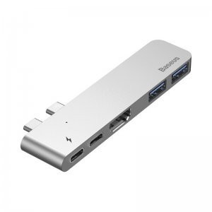Хаб Baseus Thunderbolt C+ Dual Type-C to USB3.0/HDMI/Type-C Female HUB Converter темно-серый