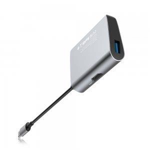 Переходник Baseus Enjoyment с Type-C на HDMI+USB3.0 HUB серый