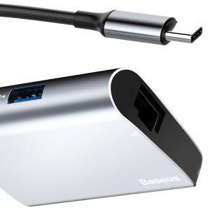 Хаб Baseus Enjoyment Type-C на RJ45 + USB 3.0 HUB серый