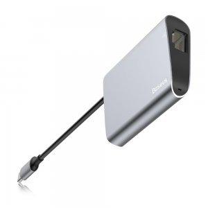 Переходник Baseus Enjoyment с Type-C на RJ45+USB3.0 HUB серый