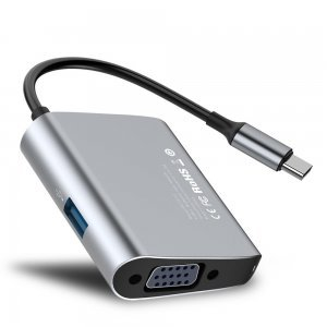 Хаб Baseus Enjoyment Type-C на VGA + USB 3.0 HUB серый