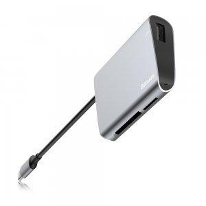 Хаб Baseus Enjoyment Type-C на SD+TF-Card + USB 2.0 HUB серый
