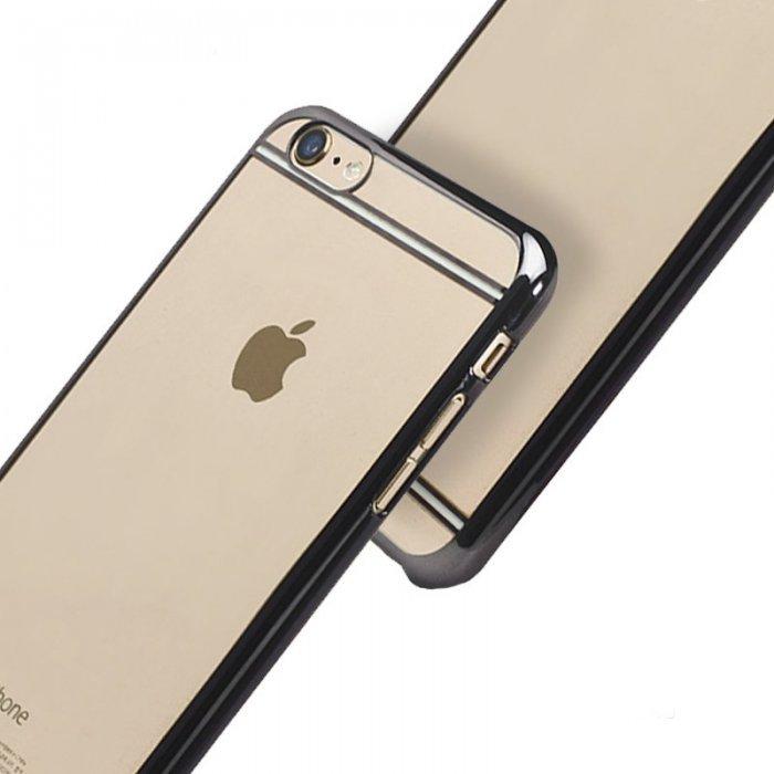 Чехол-накладка для Apple iPhone 6 Plus/6S Plus - iBacks iFling Electroplating прозрачный + черный