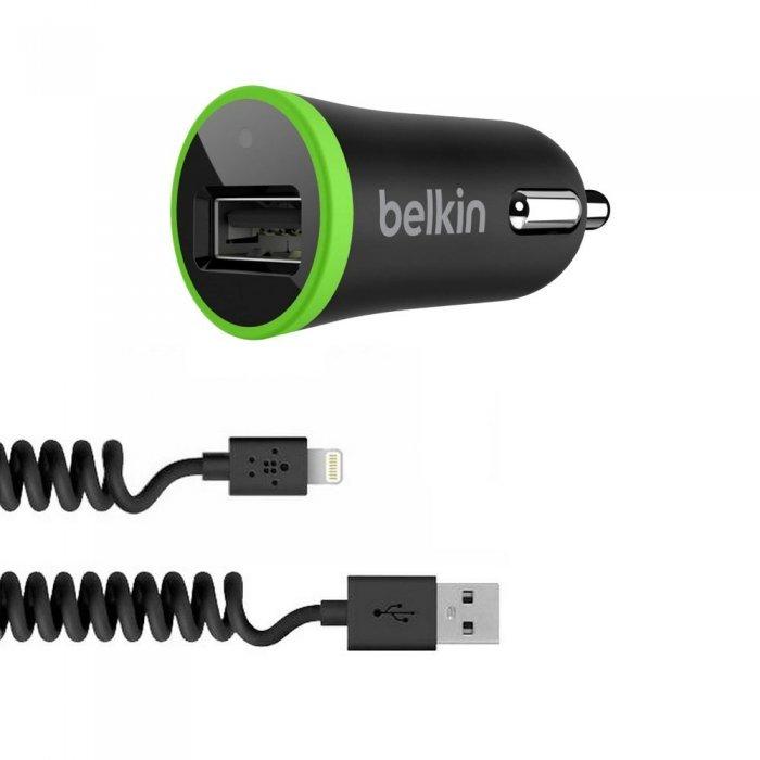 Автомобильное зарядное устройство Lightning - Belkin USB Micro Charger 12V черное