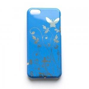 Чехол с рисунком Butterfly Pattern голубой для iPhone 5C