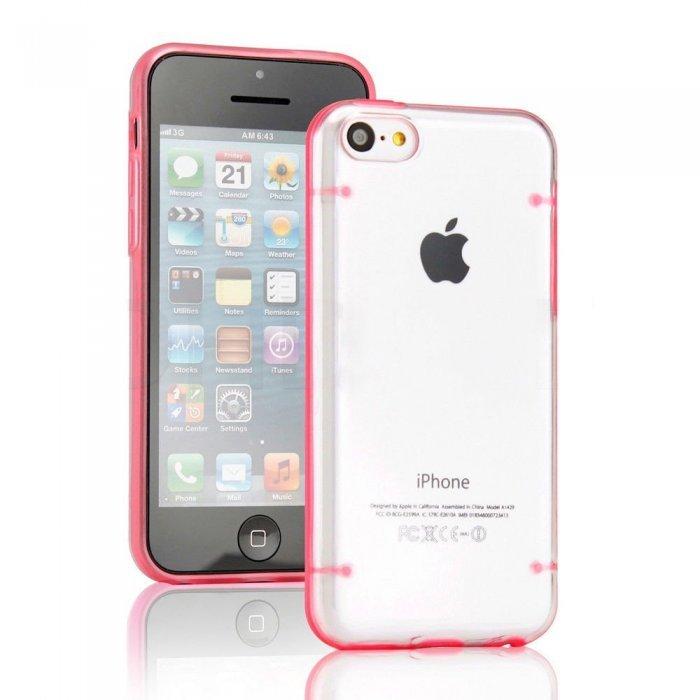 Чехол-накладка для Apple iPhone 5C - Transparent Plastic & TPU Combo розовый