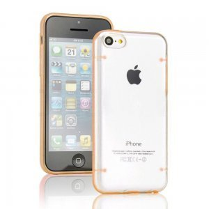 Чехол-накладка для Apple iPhone 5C - Transparent Plastic & TPU Combo оранжевый