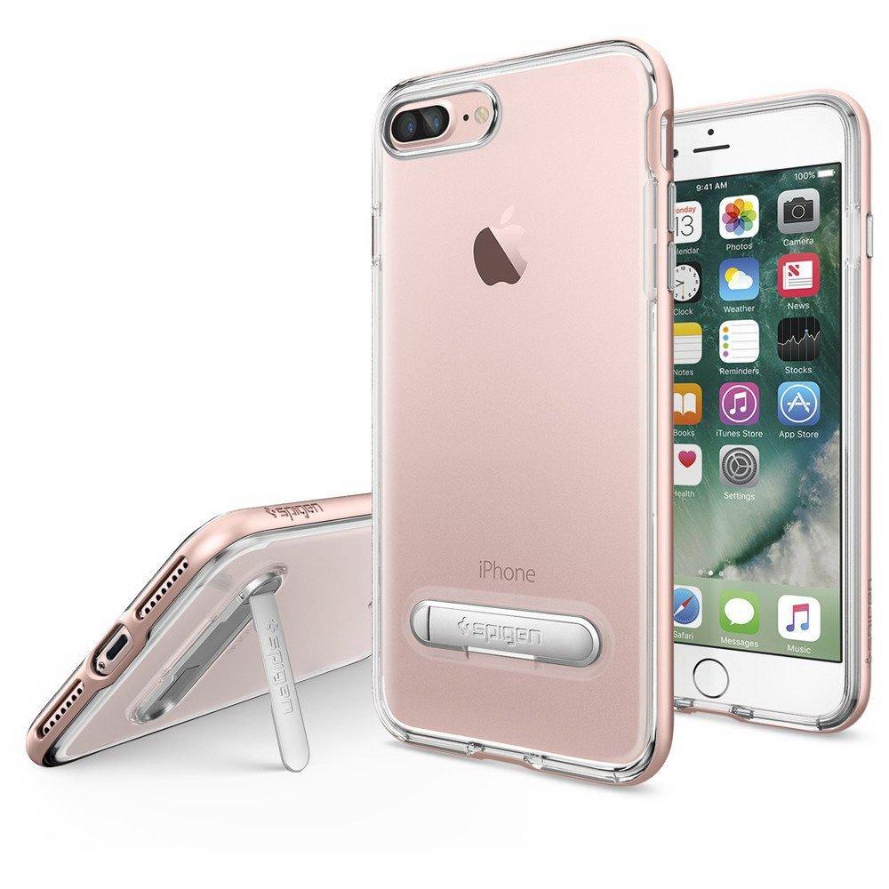 Чехол с подставкой Spigen Crystal Hybrid прозрачный + розовый для iPhone 8 Plus/7 Plus