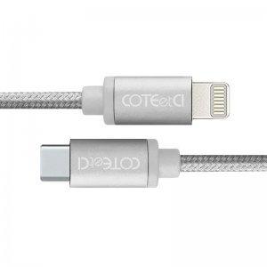 Кабель COTEetCI M38 Type-C to Lightning Cable 1.2м, серебристый