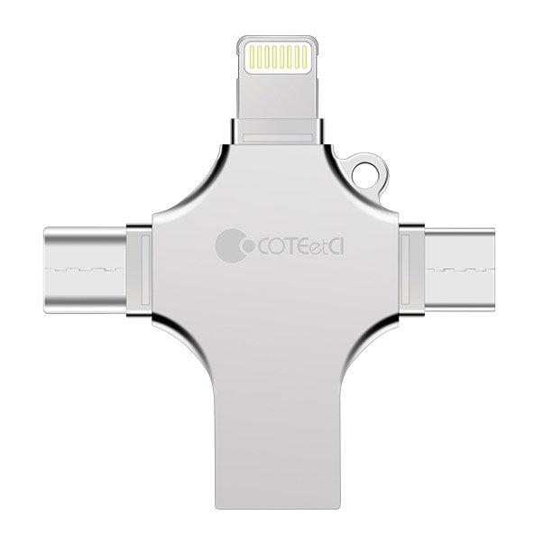Флеш память Coteetci 4-in-1 Zinc Alloy iUSB 128Gb