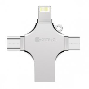 Флеш память Coteetci 4-in-1 Zinc Alloy iUSB 128Gb
