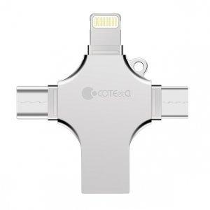 Флеш память Coteetci 4-in-1 Zinc Alloy iUSB 64Gb