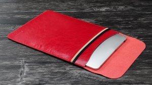 """Чехол (карман) Coteetci Leather Bag для ноутбуков диагональю 13"""" красный"""